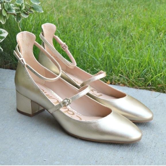 998f22dbfd6c73 Sam Edelman Lulie ankle strap gold shoes heels